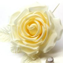 61/2 Pale Yellow Silk Rose